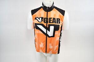 Large Men's Verge V-Gear Shell Vest Cycling Wind Vest Orange/Black CLOSEOUT
