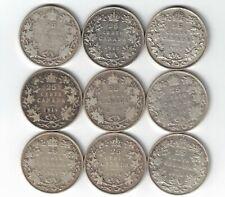 9 X CANADA TWENTY FIVE CENTS QUARTERS KING GEORGE V SILVER COINS 1912 - 1919
