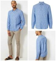 M&S Marks and Spencer Mens Blue Print Linen Shirt Long Sleeve Smart Casual