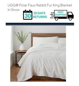 UGG Polar Faux Rabbit Fur King Reversible Blanket in Snow