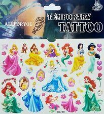 1x Princess mix Temporary Tattoo Sheet Children Kids Birthday Party Bag Filler