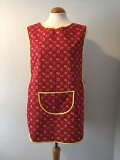 More details for vintage red floral tabard pinny apron smock retro