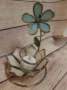 VTG STAINED GLASS 3D FLOWER TEA LIGHT VOTIVE CANDLE  HOLDER CUTE PINK RETRO