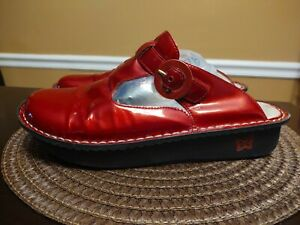 ALEGRIA Women Mule clogs shoes ALG-124 Cherry Red Leather Slip On Sz 42