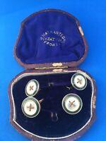 Antique  Mother of Pearl 4 Shirt Dress Studs Original Box