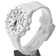 New Swatch Chrono Twice Again White Silicone Men Date Watch 40mm SUSW402 $120