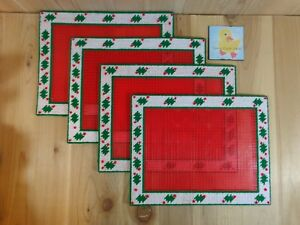 Christmas Place Mats Set of 4 Green Holly Red Berries Handmade Plastic Canvas