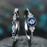 2pc Fashion Round Cut 925 Silver Sapphire Women Wedding Ring Jewelry Size 6-10
