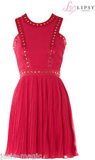 Lipsy UK 16 Stud Embellished Studded Cut Out Dress with Pleated Skirt Super Pink