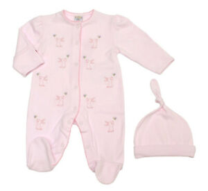 Baby Girl Spanish style sleep suit and hat pink rabbit 0-3 - 6-9 months