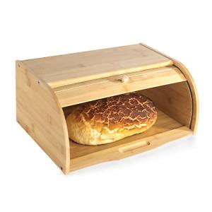 Bamboo Bread Bin Wooden Roll-Top Food Storage M&W