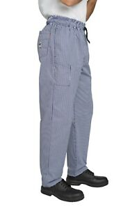 BIG CHEFS! Dennys Le Chef Professional Trousers Blue Check Sizes XS-5XL