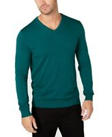 Alfani Mens Sweater Green Size XL V-Neck Solid Knit Rib Pullover $60 #309