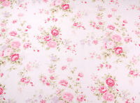 ROSES Fabric- 100% COTTON vintage White FLORAL MATERIAL by the metre