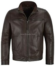 Men's Leather Jacket Fitted 100% REAL LEATHER Classic Collar Fashion Soft Jacket