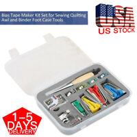 60PCS Fabric  Bias Binding Tape Maker Kit Binder Foot For Sewing Quilting Cloth