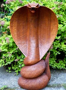 Quality Hand Made Carved Wooden Figure COBRA SNAKE 30 cm Brown Home Decoration