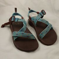 CHACO Sport Sandals GIRLS 2 Waterproof Hiking Swimming Blue Yellow Flowers 2Y