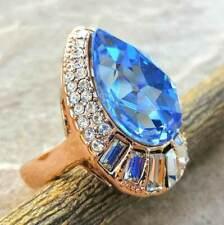 Elegant Blue Topaz White Topaz 18K Gold Plated Wedding Engagement Ring Size 7.5