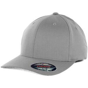 Flexfit Precurved Hat (Grey) Men's Blank Silver Stretch Cap