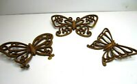 Vintage Homco Faux Wood Wicker Butterfly Wall Plaques Hangings Mid Century
