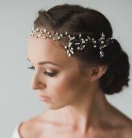 Women Wedding Bride Crystal Silver wire color Hair band head piece garland tiara