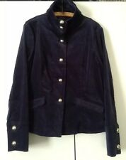 Military Style Vintage 80s Cotton Velvet Jacket Size 12 Big Collar Cuffs Buttons