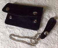 USA MADE - BLACK - Thick Real Cowhide Leather Trucker Biker Chain Wallet