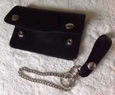 USA MADE Thick Real Cowhide Leather Trucker Biker Chain Wallet Inside Zipper