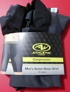 """NEW ATHLETIC WORKS COMPRESSION MEN'S ACTIVE BOXER BRIEF 9"""""""