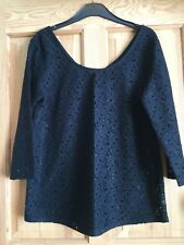 NEXT Ladies Black Lace Floral Long Sleeved Top Size 10
