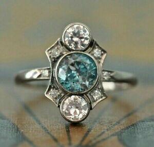925 Sterling Silver Vintage Round Aquamarine Art Deco Anniversary Ring 1.60 CT