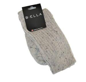 B. Ella Ladies 93% CASHMERE Crew Socks Bulky Rib Speckle Layla Light Grey - NEW