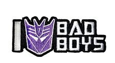 "Transformers I Heart Bad Boys Iron-On Patch 3 1/2"" x 1 1/2"" Licensed PCH-TFP0147"