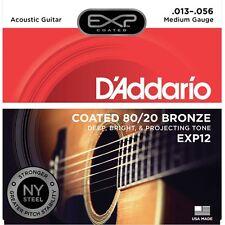 D'Addario EXP12 Coated 80/20 Bronze Medium Acoustic Guitar 13-56