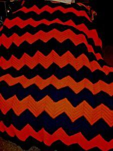 HANDMADE Virginia Cavaliers Orange and Blue Adult size Afghan Blanket Throw