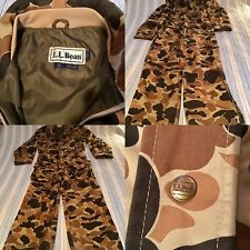 Vintage L.L. Bean Duck Camouflage Hunting Coveralls, Size Med.*Uninsulated*