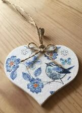 Floral Blue Tit Hanging Decoration Shabby Chic Country Vintage Decal Blue White