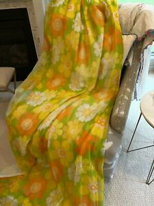 """Vtg DAISY Floral Drapes MCM 3 Panels FLOWER POWER 84""""L x 40 1/2"""" w Pleated Top"""