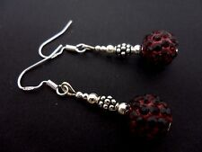 A PAIR OF DARK RED SHAMBALLA BEAD EARRINGS WITH 925 SOLID SILVER HOOKS. NEW