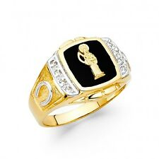 14k Yellow Gold Mens Onyx Santa Muerte Holy Death Band Ring Resizable - Size 10