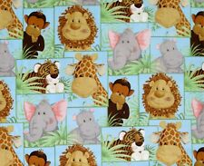FAT QUARTER  JUNGLE BABIES ANIMAL PATTY REED COTTON FABRIC TRADITIONS NURSERY FQ