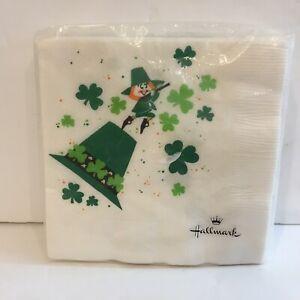 "Vtg Hallmark St. Patrick's Day Napkins Leprechaun 20 Count 10x10""(unfolded)"