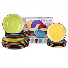 18-tlg. Tellerset Malaga buntes Porzellan Kuchenteller Essteller Suppenteller