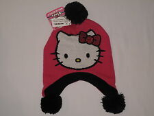 NWT HELLO KITTY knit hat Girl ONE SIZE FITS MOST (3-16?) pink black