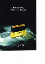 PUBLICITE ADVERTISING  1980   PUIS SURVINT  JEAN PATOU  pour homme parfum