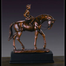 Racing Jockey 9 x 11 Great Detail Beautiful Bronze Statue / Sculpture New