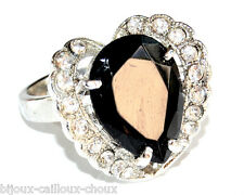 Fancy Ring Silver Plated Crystal Black White T 56 Bijouring