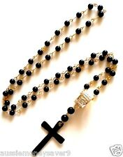 Christian Rosary Prayer Bead CROSS crucifix Gold Chain Necklace Ring FREE giftba