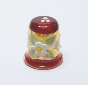 🌹Pretty Red Glass Thimble with White  Flower Wrapped Gold From Portugal Size 12
